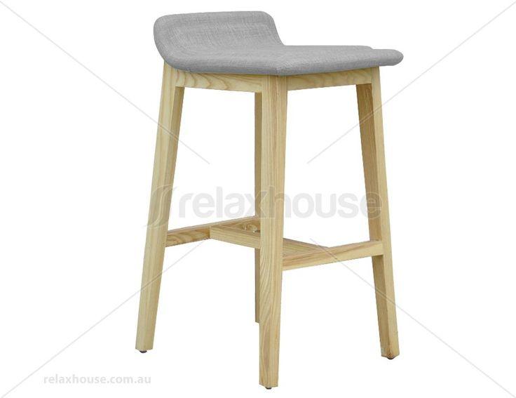 $295EA Vasco Scandinavian Timber Bar Stool - Natural American Ash - Grey Linen Seat Pad