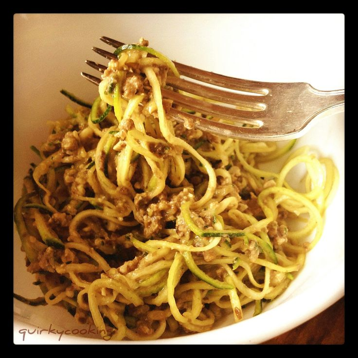 Quirky Cooking: Raw Zucchini Pasta with Walnut & Mushroom Sauce {Vegan}