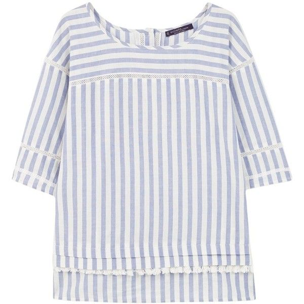 Violeta by Mango Striped Cotton Fringe Blouse, Medium Blue (250 BRL) ❤ liked on Polyvore featuring tops, blouses, fringe top, embellished blouses, plus size blouses, striped top and womens plus tops