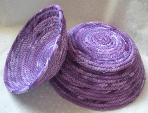 purple fabric bowls by PiecefulDesign - Mom would definitely steal this from me if I made it in this color. Wonder if the batik is just one fabric or they used shades of purple on this one?