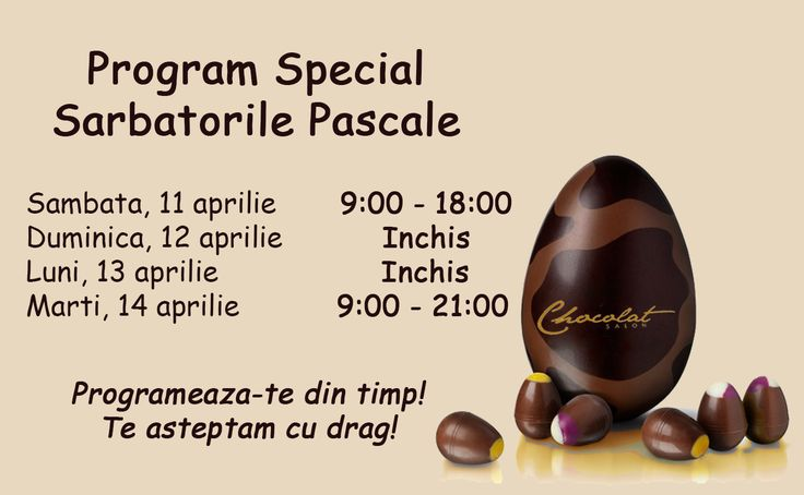 Vrei sa fii sigura ca vei fi admirata cu ocazia Sarbatorilor Pascale? Programeaza-te din timp! Iata si programul special. http://goo.gl/2Povcm