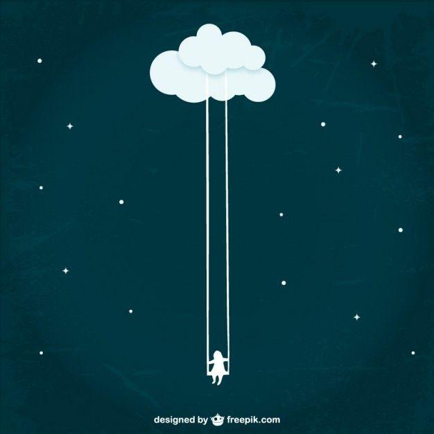 Fille balançant d'un nuage                              …
