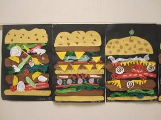 burger collage in the style of Clas Oldenberg- My students LOVE this when I did it! (I included subs as well as burgers)