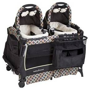 Baby Trend Twins Playard Set Gray Blue Nursery Twins