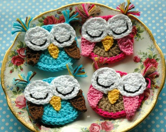 Crochet Owl Appliques  Decorations Sleepy Owls  set by AnnieDesign, $16.00