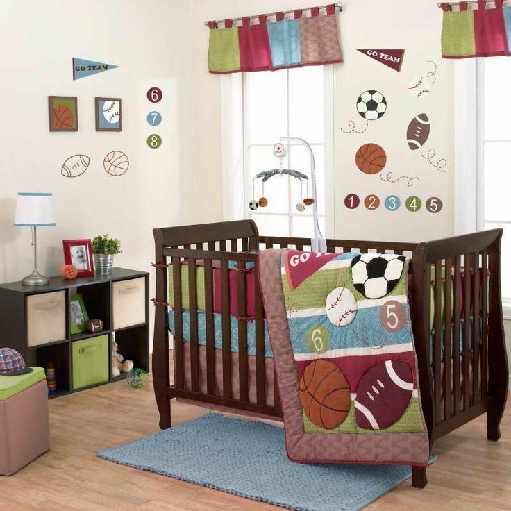 Sporty Baby Soccer Baseball & Football Boys Nursery 4 Pc Crib Bedding Bundle Set--