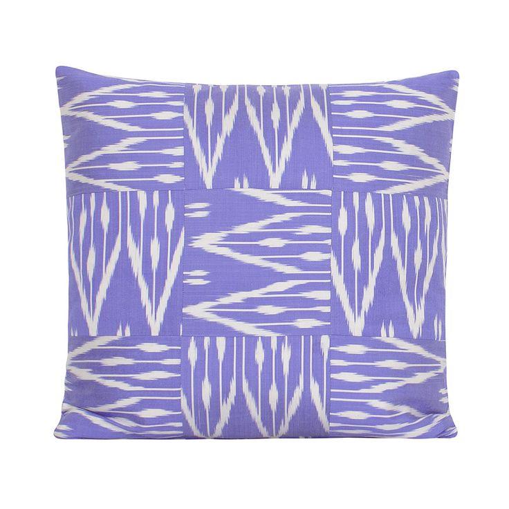 Discover the Yastik by Rifat Ozbek Ikat Patchwork Lilac Cushion - 53x53cm at Amara