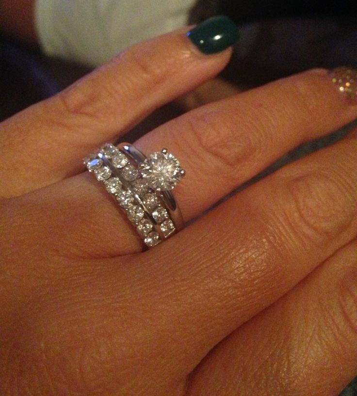 thick wedding band with simple solitaire engagement ring