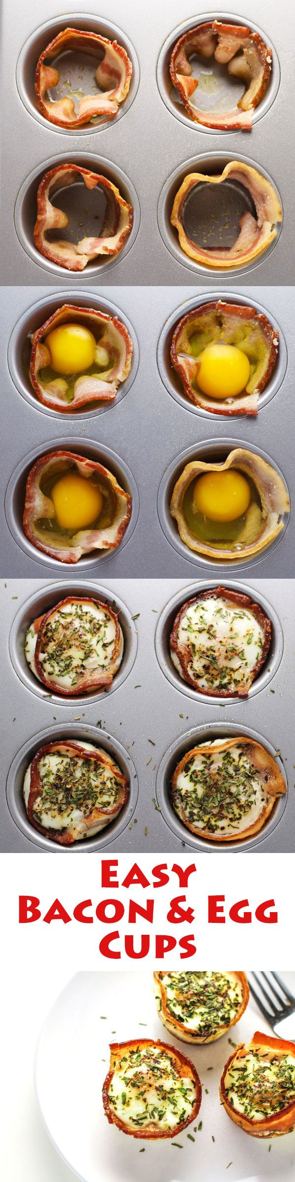These Bacon and Egg Cups are made in a muffin tin and so easy to make! | http://Tastefulventure.com                                                                                                                                                                                 More