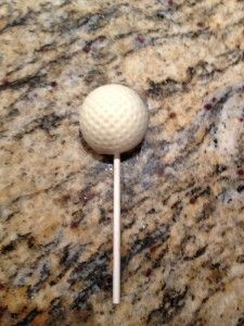 Cake pops to look like golf balls