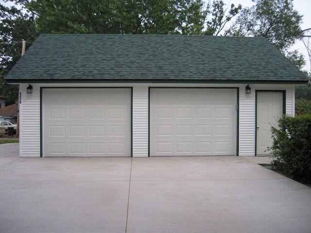 St louis park large 2 car garage vinyl siding garage for How large is a two car garage