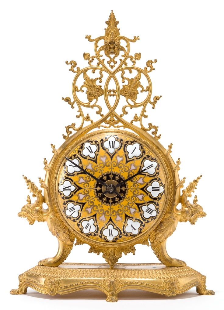 A BARBEDIENNE FRENCH BRONZE AND ENAMEL MANTEL CLOCK  Design after Ferdinand Barbedienne (French, 1810-1892)  Manufactured by Fenon & F. Margotin, Paris, France, circa 1880
