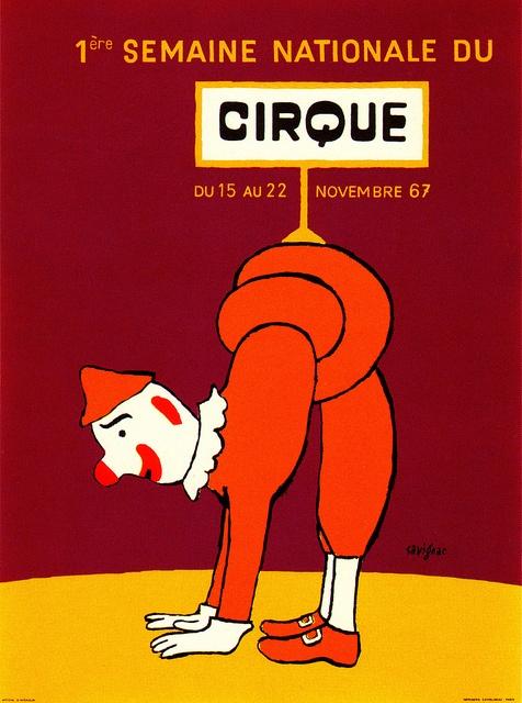 Circus poster, Raymond Savignac // première semaine nationale du cirque