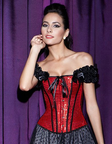 Sequin corset with black ruffle tie straps, front busk closure, tied up with a ribbon, lace-up back. #corsetsa #corsetsforsale