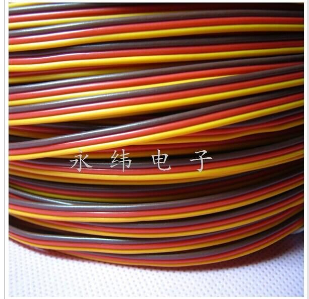 Servo cable 3p line 5M/LOT For Futaba JR Hitec RC servo Hobby model aircraft model wiring Wholesale price 30 core x0.08mm 1.2mm