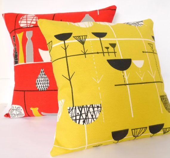 Rare Original 50s Marian Mahler Fabric Cushion Pillow - red Linear Flowers Lucienne Day era Mid Modern