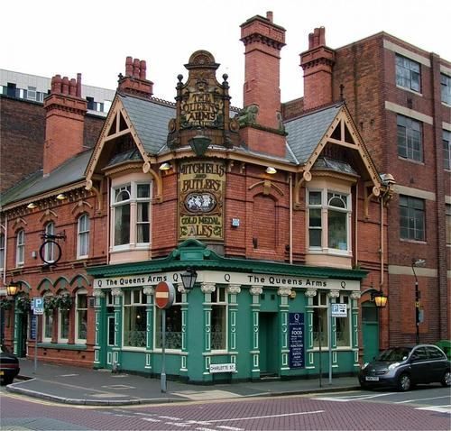 The very best place to learn to love soccer, I imagine. Or tea.: Pub Signs, Birmingham England, English Pub, Queen Arm, The Queen, Charlotte Street, Arm Pubbirmingham, Photo, World
