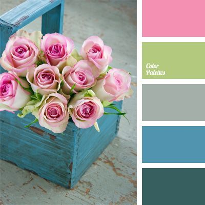 Color Palette # 35 - Tea rose pink, lime green, grey, turquoise, and teal / Color Palettes