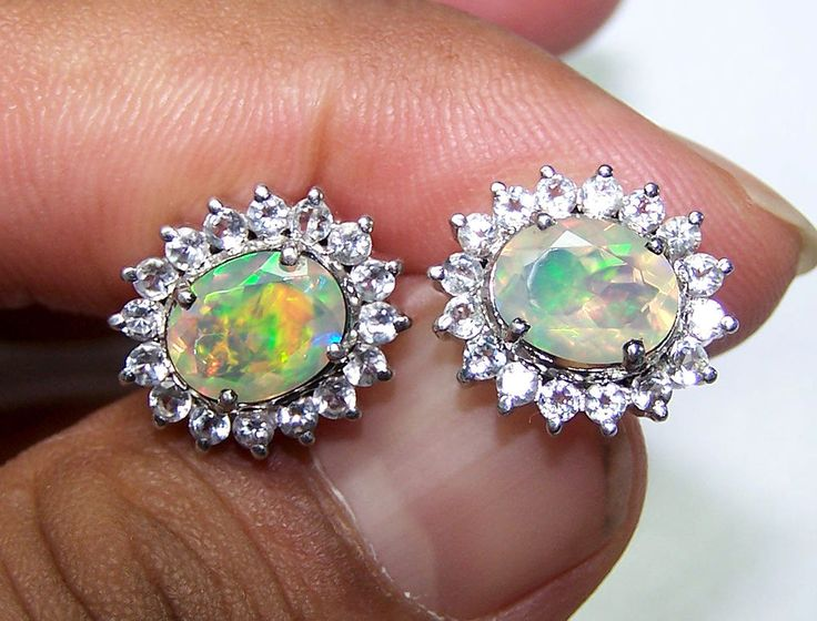 7 x 9 MM Insane Fire Faceted Ethiopian Opal & White Topaz Sterling Silver Cluster Earring #MyJewelryAffair #Cluster