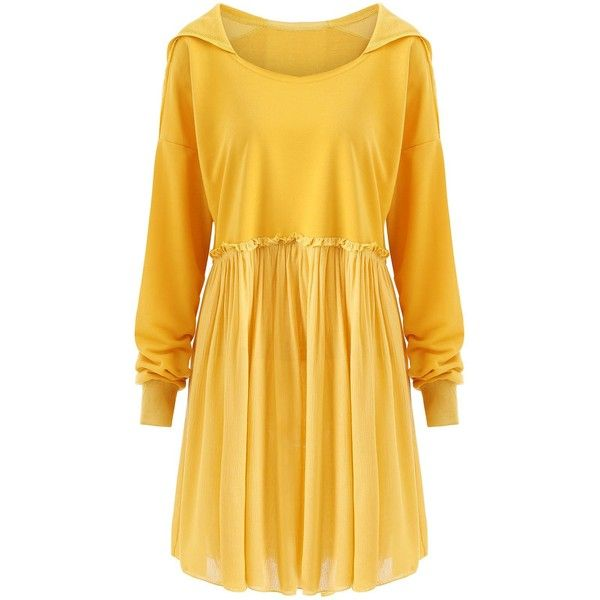 Yellow 3xl Crinkle Plus Size Smock Hooded Top ($18) ❤ liked on Polyvore featuring tops, hooded top, crinkle top, womens plus tops, yellow plus size tops and smocked top