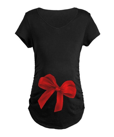 Take a look at this Black & Red Bow Maternity Tee - Women by CafePress on #zulily today!
