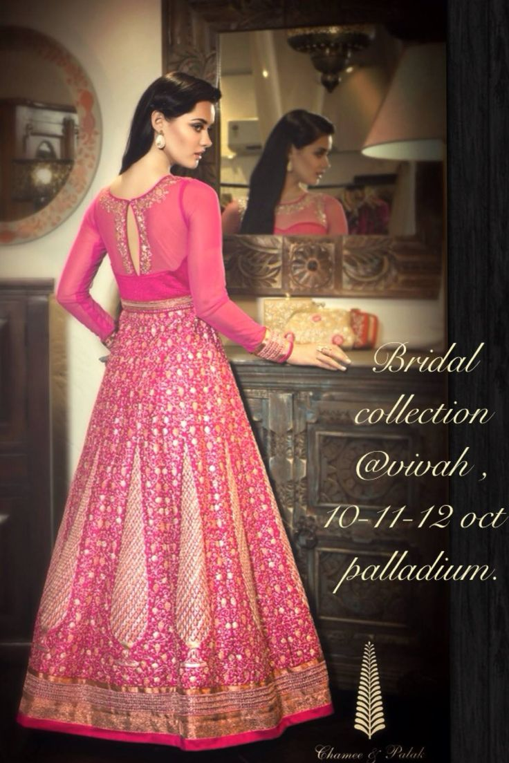 Chamee & Palak Pink Embellished Bridal Collection. #Anarkali.