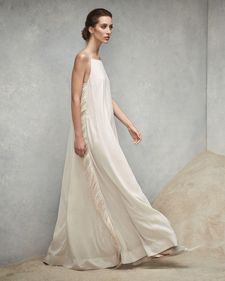Brunello Cucinelli Strappy Gown w/ Ostrich Feather Sides