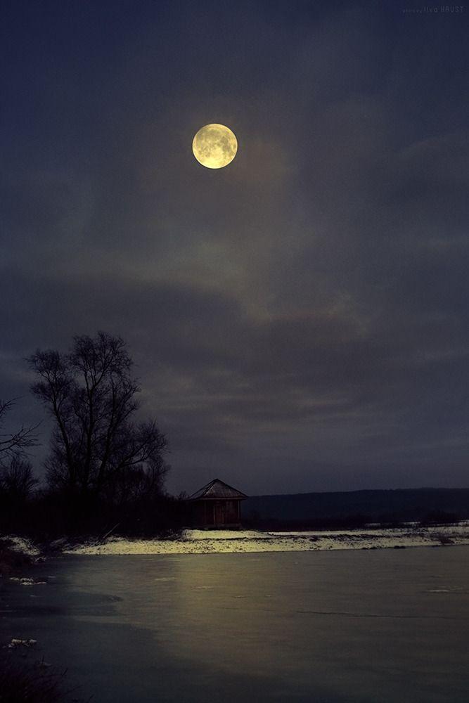 Ilvahaust Nature A Winter Night Mond