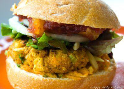 seitan sweet potato vegan burger