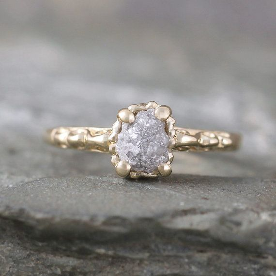 14K Yellow Gold Raw Diamond Engagement Ring by ASecondTime on Etsy