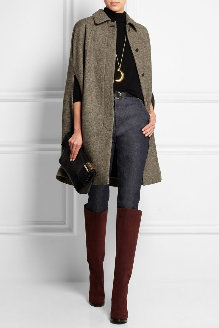 VANESSA SEWARD Arcadie wool-blend tweed cape $880  EDITORS' NOTES & DETAILS ONLINE EXCLUSIVE AT NET-A-PORTER.COM. Vanessa Seward's 'Arcadie' cape is perfectly in keeping with this season's modern heritage trend. It's cut for a flattering rounded-shoulder silhouette from wool-blend tweed. Wear yours with jeans and knee boots.