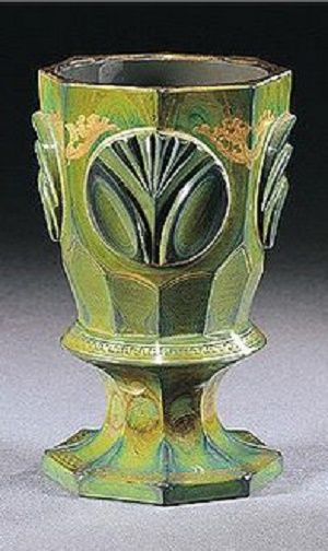 A Bohemian `Lithyalin' goblet, Count Buquoy Glassworks, Georgenthal or Silberberg,...