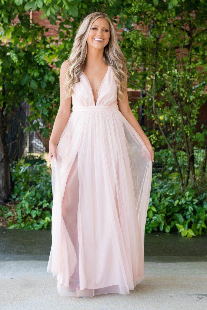 64521e3d051 Sexy Maxi Dress- Blush Pink Tulle Dress- Wedding Guest Dress- Bridesmaid  Dress- Tulle Maxi Dress -  45