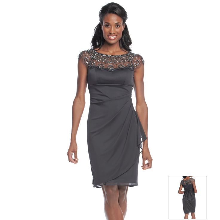 Xscape bead collar side ruch cocktail dress mother of for Elder beerman wedding dresses
