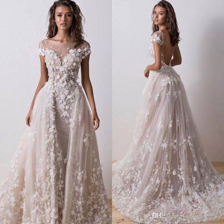 Overskirt Lace Wedding Dresses Detachable Train Arabic