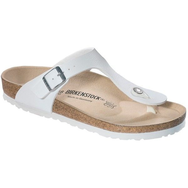 Birkenstock Gizeh Toe Post Sandals, White ($77) ❤ liked on Polyvore featuring shoes, sandals, white shoes, white flat shoes, thong sandals, flat sandals and suede sandals