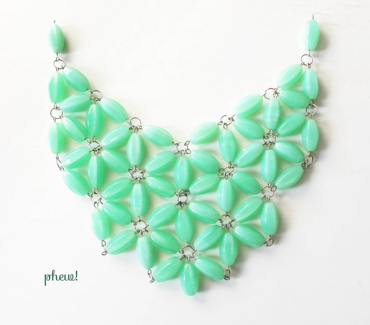 """owlswakeup: DIY J.Crew Necklace  Good tutorial looks fast and simple. Would be pretty with some sparkle added in center of """"flower"""" clusters. Could be very Spring-like with white beads and yellow crystal in center or, in other colors......dramatic."""