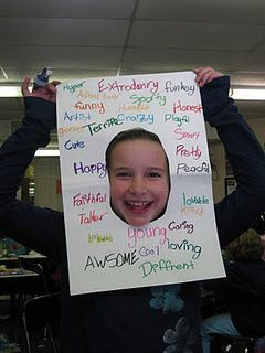 Adjectives Frame - not only would students be practicing adjectives, they would be building confidence in themselves! friends fill it out for peers. Plus the photos would be great on our end-of-year slide show.