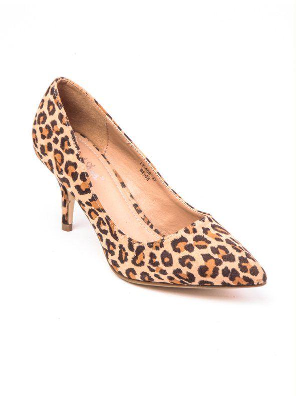 Zapatos de tacón mujer corte salón leopardo