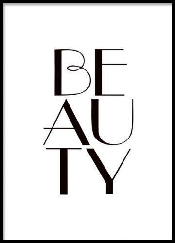 Beauty texttavla till stilren inredning.