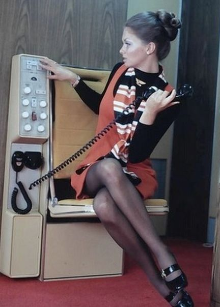 United Airlines flight attendant in 1970
