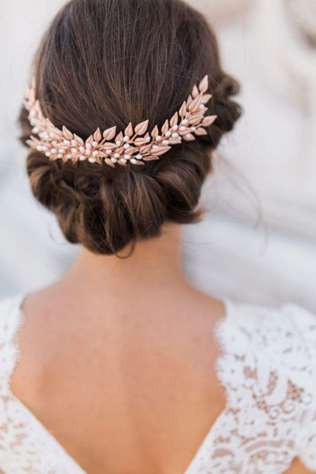 bridal gold hairband 2017 hair up do with golden hair accessory