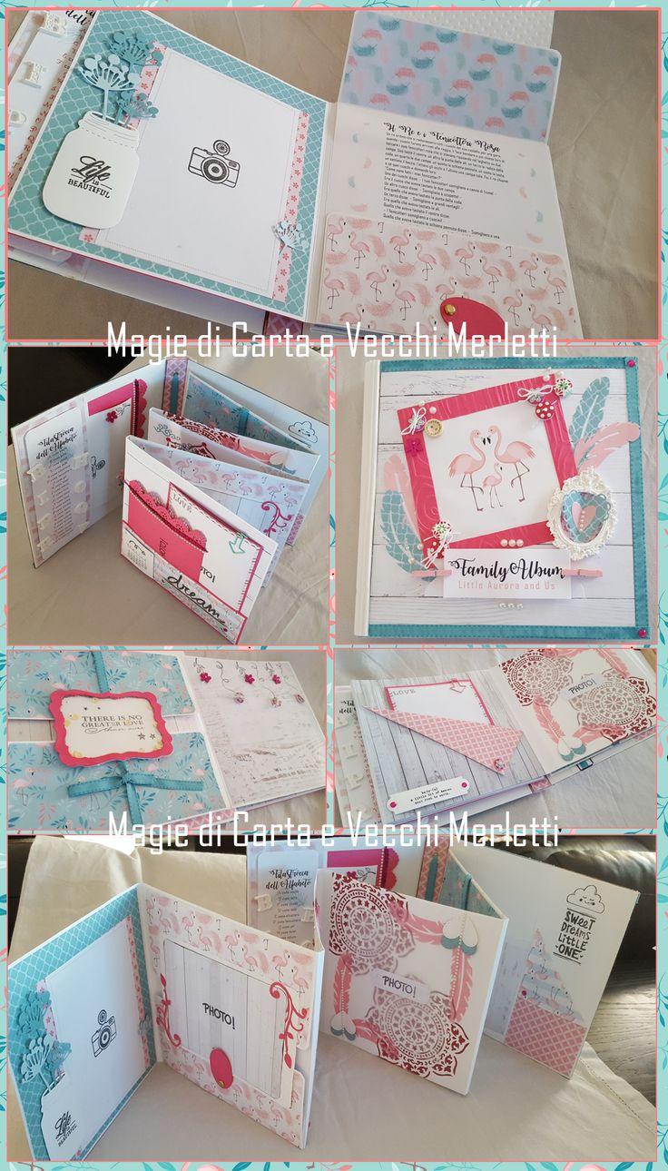 Album fotografico, personalizzato e decorato, per la nascita di un piccola principessa. :-) Photo Album for a Little Princess. #minialbum #albumscrap #photoalbum