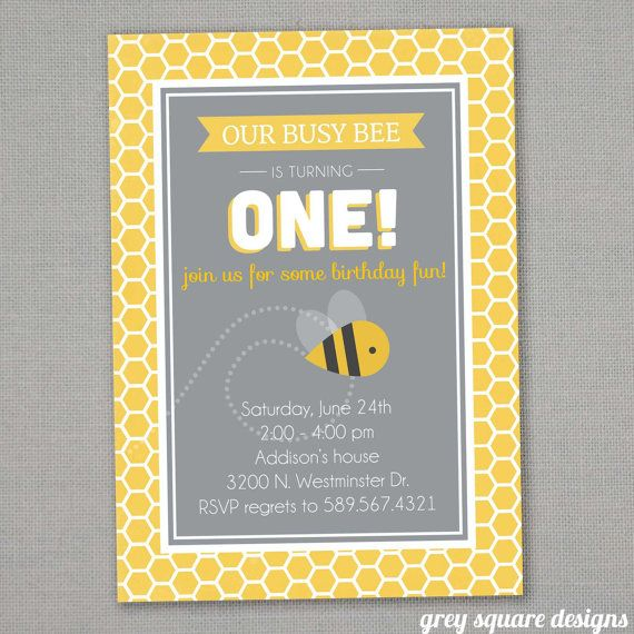 Bee Birthday Invitation by greysquare on Etsy, $10.00
