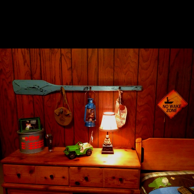 Boy 39 S Room Camping Theme Found Almost All This Stuff Secondhand At Garag