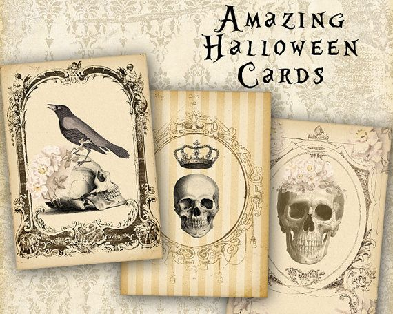 32 best shabby vintage flowers images on pinterest shabby vintage halloween greeting cards gift tags skulls on printable by frezeart 340 m4hsunfo