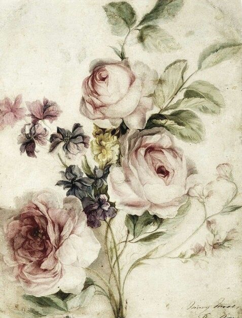 Vintage flowers, dusty/pale pink, light green, beige, worn in love