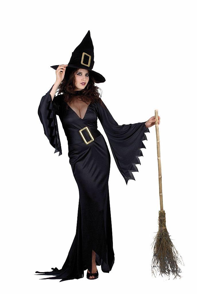 Strój karnawałowy dla kobiety Czarna Wiedźma. Doskonały kostium na Halloween.