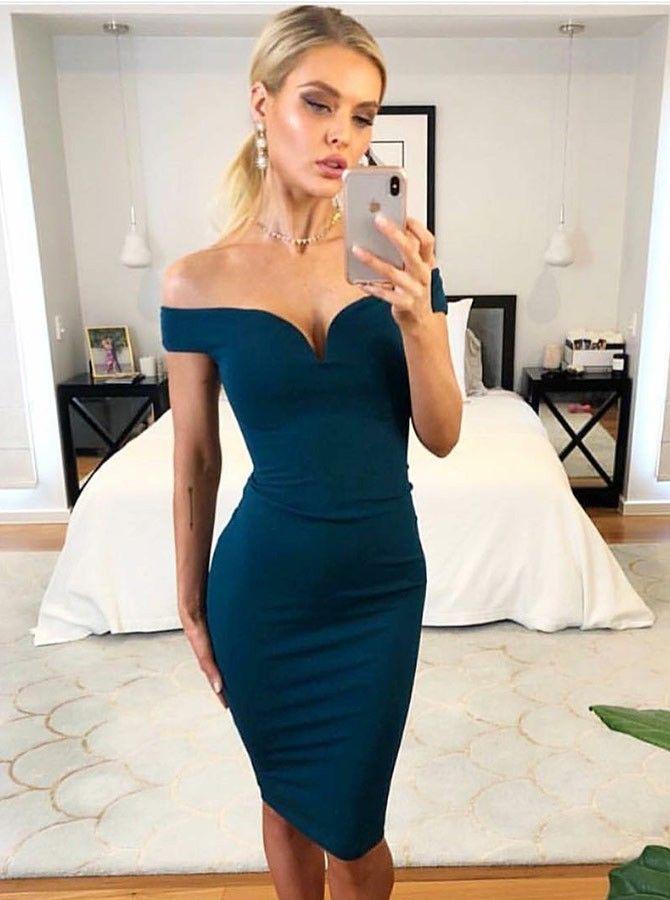 Sheath Off-the-Shoulder Knee Length Blue Satin Cocktail Party Dress ... fa1d68972
