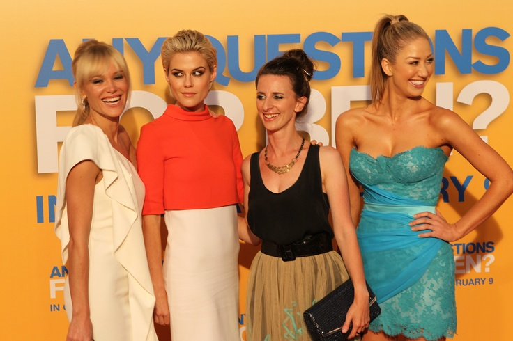 Rachael Taylor, Chantelle Rayleigh and Lilyia May wearing Lash Republic at the premiere of Any Questions for Ben